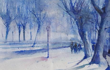 Urquias Aquarelle Blauer Winter
