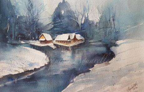Urquias Aquarelle Pfahlbauten im Winter