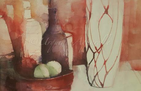 Urquias-aquarelle-Aquarell-auf-Leinwand-Flasche-aus-rot