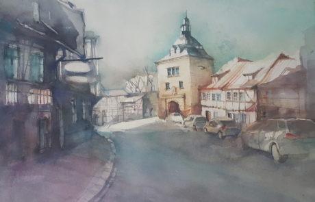 urquia-aquarelle-Mühlhausen 36x48 cm