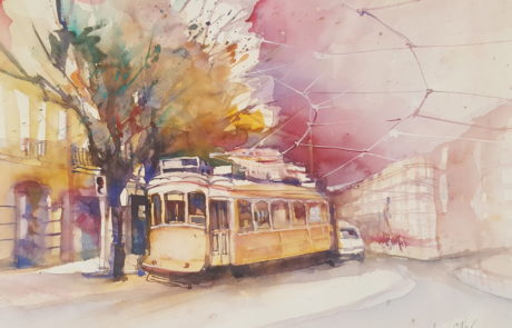 urquia-aquarelle-Praga Strassenbahn 30 x40 cm