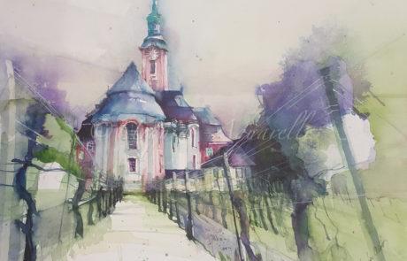 urquias-aquarelle-Basilika Birnau 30 x 40