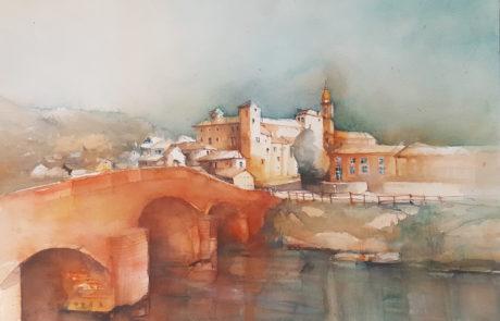 urquias -aquarelle-Monastero 36X48 cm