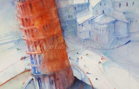 urquias-aquarelle-Pizaturm in Rot-verkauft- 30 x 40