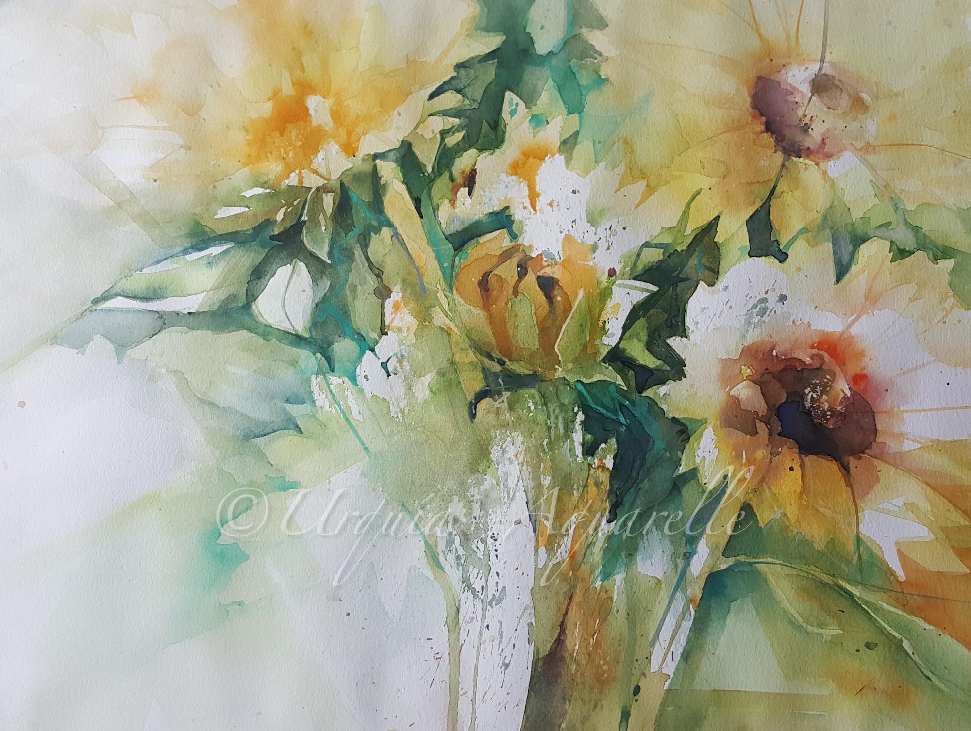 urquias-aquarelle-Sonnenblummen -frei 42x56 cm