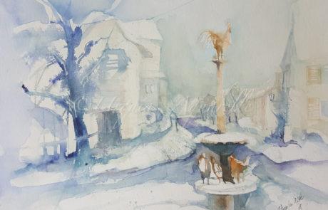 urquias-aquarelle-Winter Immenstaad 30 x 40