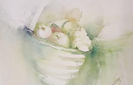 urquias-aquarelle-grüne Äpfel 30 x 40